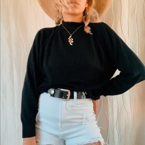 Vintage Basic Black Long Sleeved Blouse